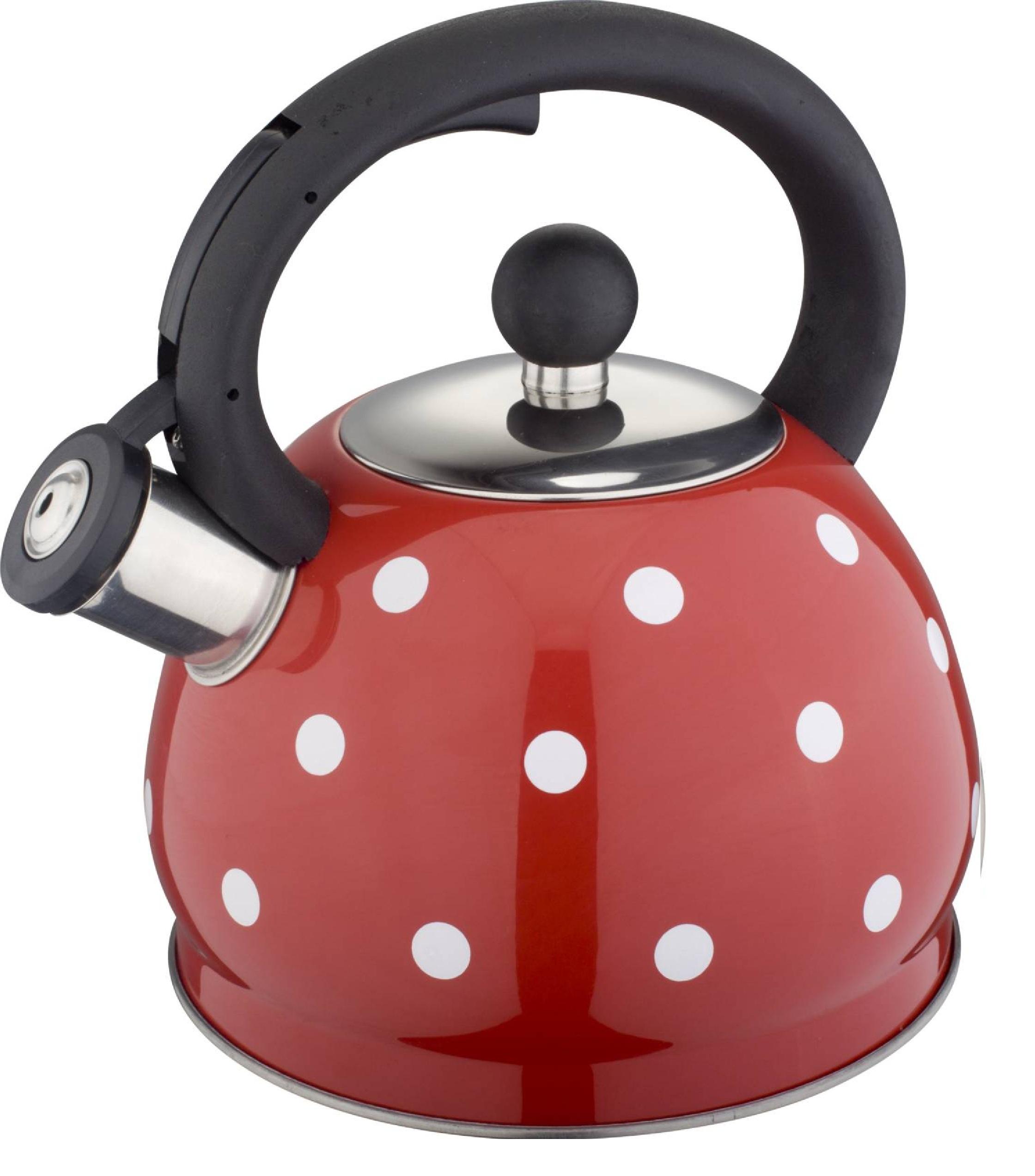 Чайник со свистком 2 л Красный в белый горох HM 5528/1