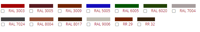 Варианты цветов снегозадержателей по каталогу RAL