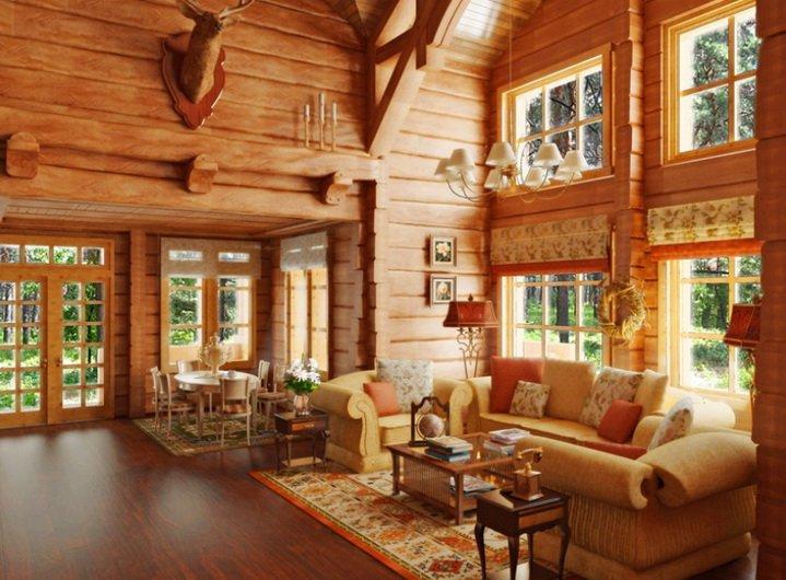 Интерьер дачи из дерева с деревянными окнами