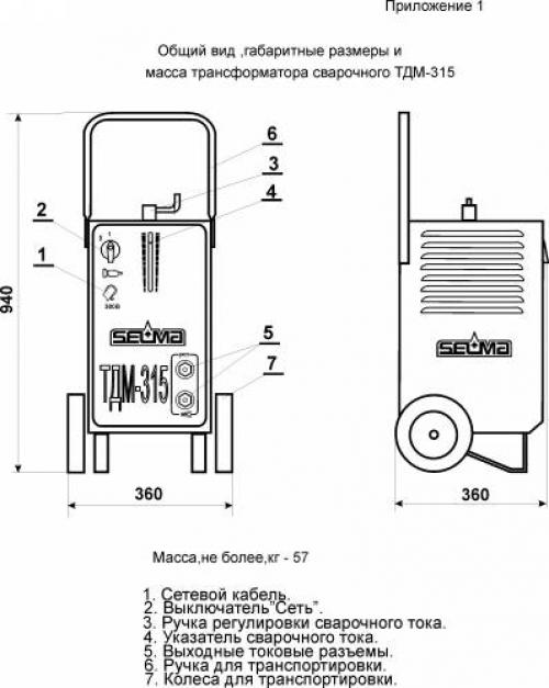 Mасса и размеры сварочного трансформатора