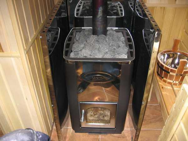 Железная дровяная печь для бани