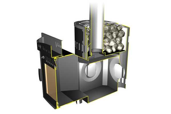 Выносной топливник более длинный и печь можно расположить так, чтобы дверца для дров оказалась в одном помещении, а сама печь в парилке
