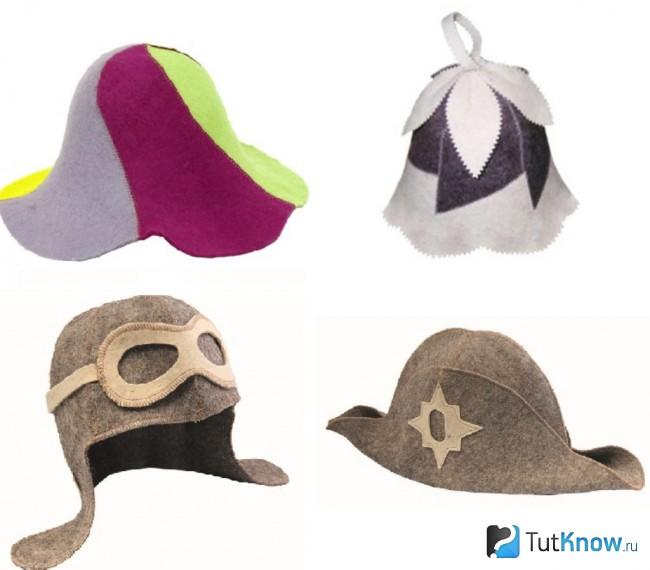 Формы банных шапок
