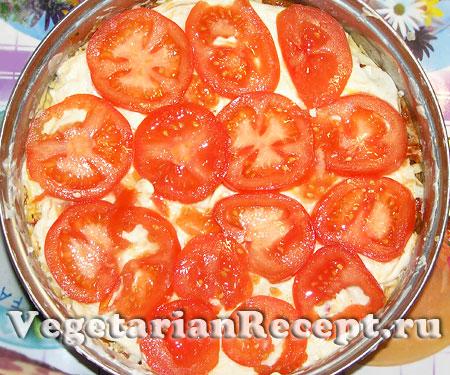 Овощная лазанья. Слой помидор (фото)