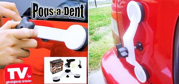 Результат работы  набора для удаления вмятин на автомобиле Pops A Dent