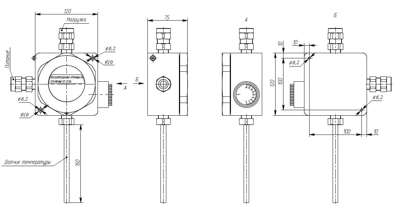 Габаритно-присоединительные размеры УВТР-10Б.D.R.LK