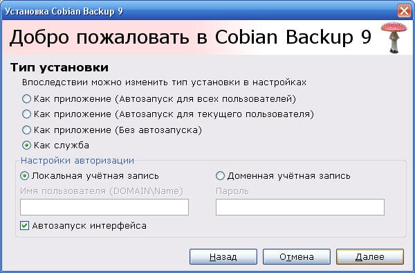 Окно Cobian Setup