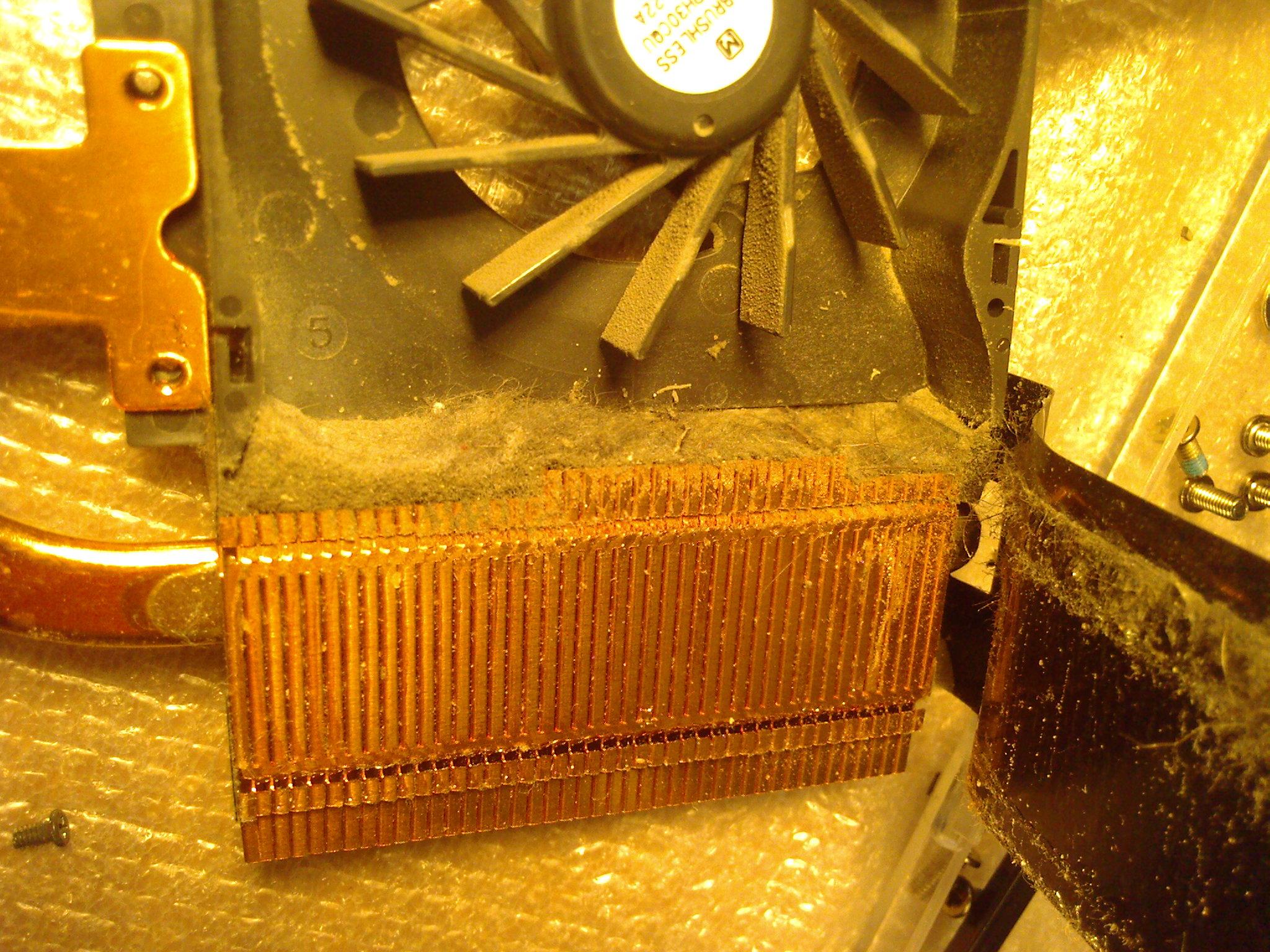 Система охлаждения ноутбука до чистки
