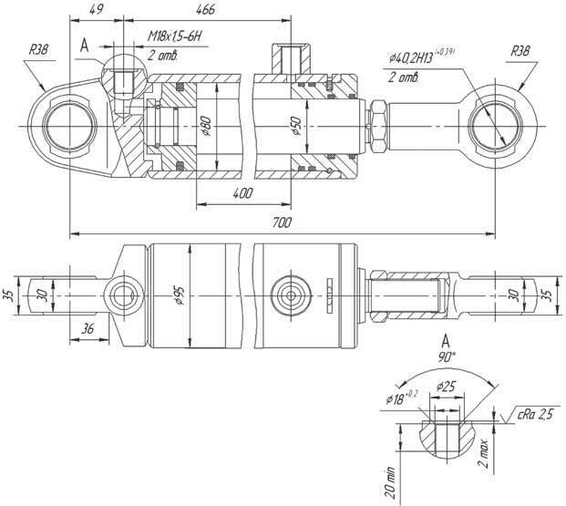 Гидроцилиндр ЕДЦГ 133.000  фото, схема, параметры, таблица, паспорт, инструкция, характеристики, завод изготовитель, производитель