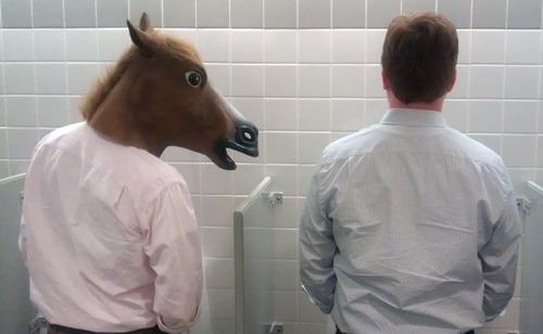 Человек в маске коня подглядывает в туалете