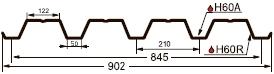 Чертеж профнастила GL-60R