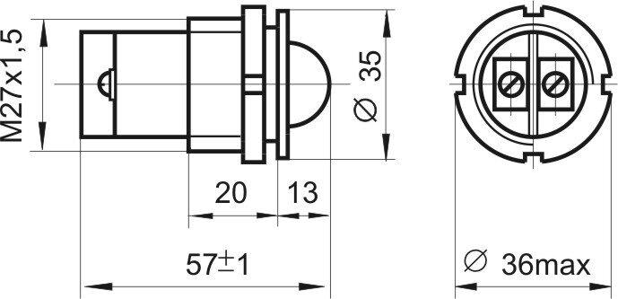 Чертеж светодиодной коммутаторной лампы СКЛ 11