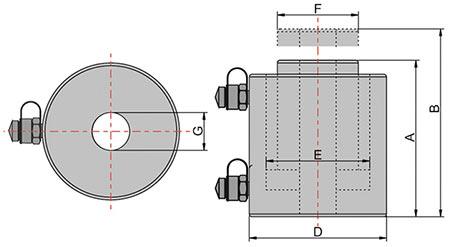 Домкрат с полым штоком и гидравлическим возвратом ДП схема