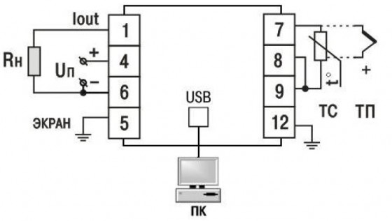 Клеммные соединители преобразователя и схема подключения датчиков
