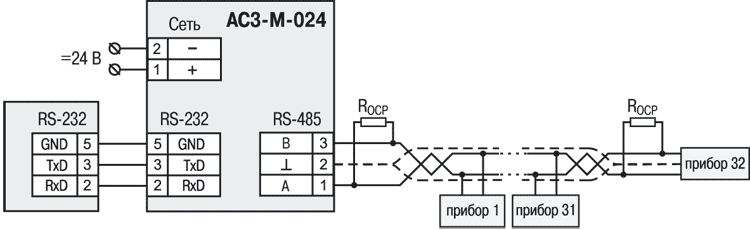 Схема подключения АС3-М-024
