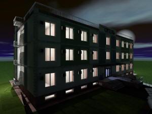 Вид гостиницы ночью