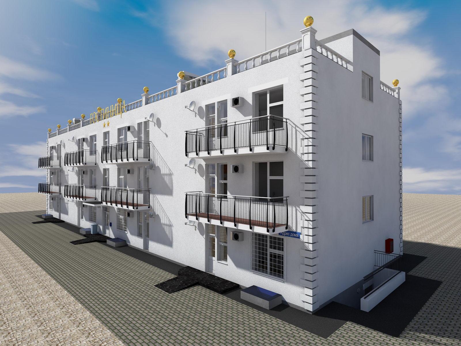 Готовый проект двухэтажной гостиницы - план первого этажа
