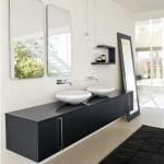 Черная мебель для ванной комнаты минимализм