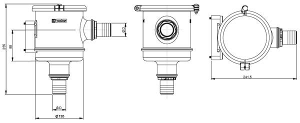 фильтр забортной воды Vetus CWS размеры