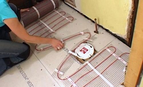 монтаж нагревательных матов для теплого пола