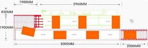 Автоматический возвратный конвейер «FL - 63», схема габаритных размеров в зависимости от модификации