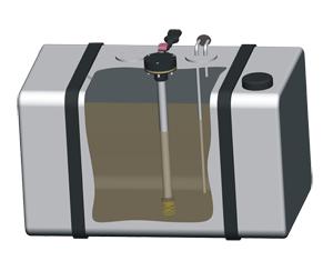 Датчик уровня топлива DUT-E установлен в топливный бак автомобиля