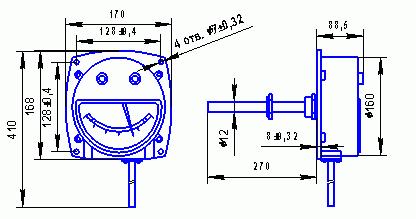 Габаритные и присоединительные размеры для местного термометра с осевым расположением термобаллона.
