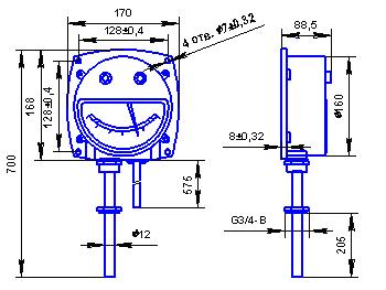 Габаритные и присоединительные размеры для местного термометра с радиальным расположением термобаллона.