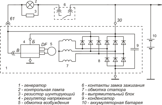 Схема включения регулятора напряжения 1702.3702-01