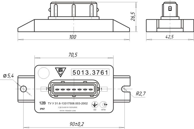 Габаритный чертеж блока 5013.3761