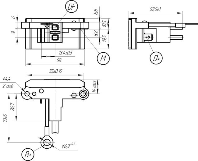 Габаритный чертеж регулятора напряжения 9333.3702-02