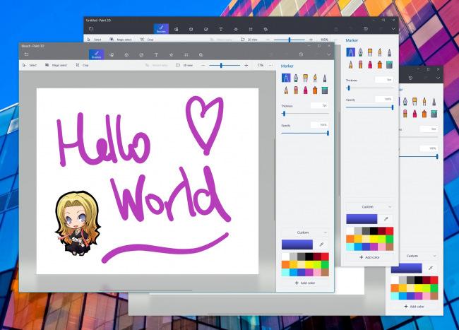 Paint 3D обзавёлся поддержкой мультиоконного режима