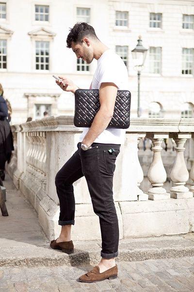 узкие джинсы с лоферами