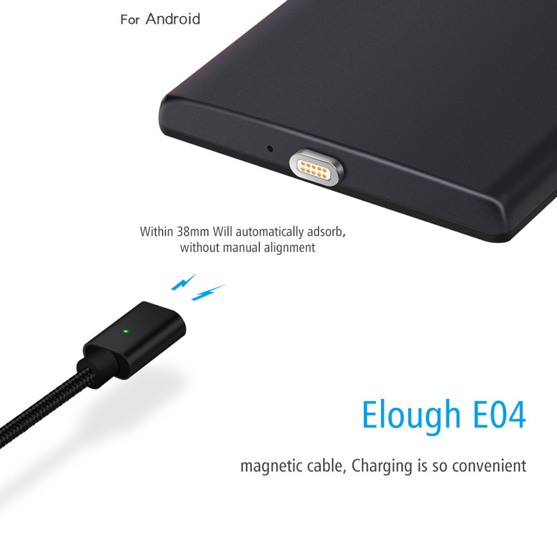 Elough E04 Micro USB Magnetic Charger Cable Nylon Braided Data Cable For Huawei Android Mobile Phone Microusb Magnet Charge Wire (3)