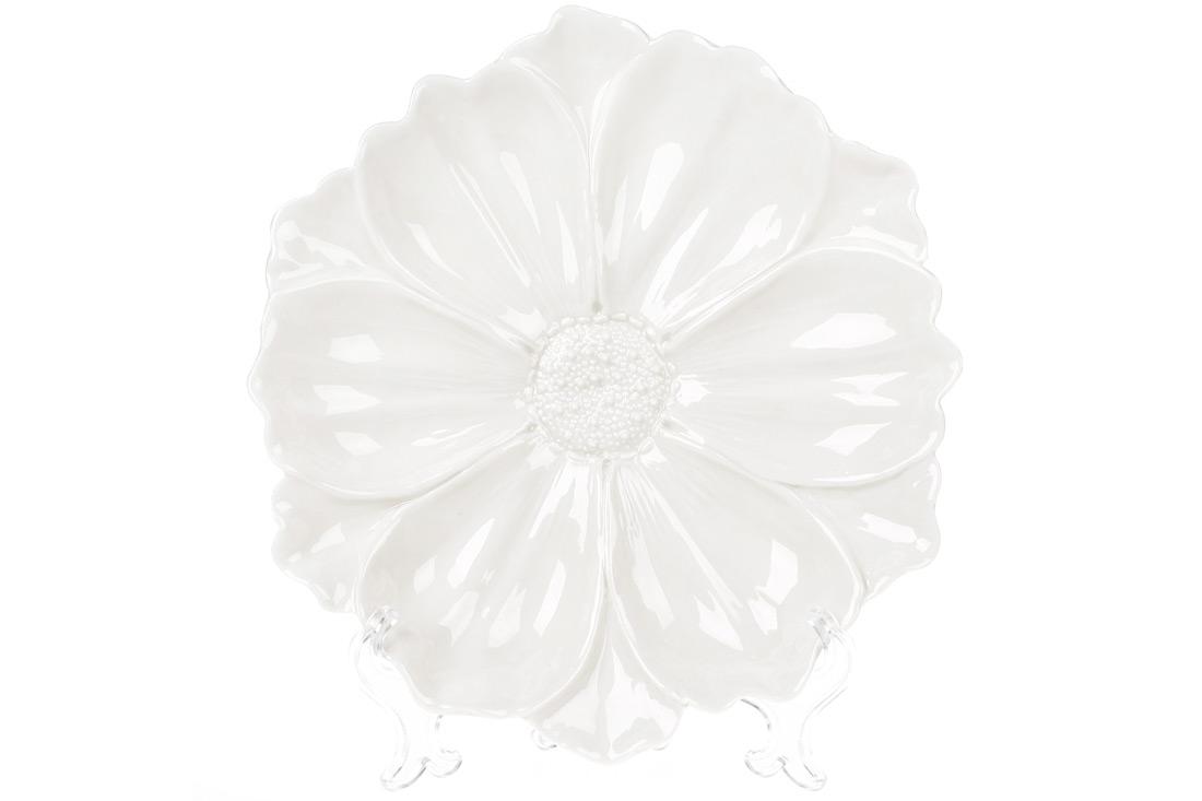 Декоративная тарелка Цветок 24см цвет белый BonaDi 727 255