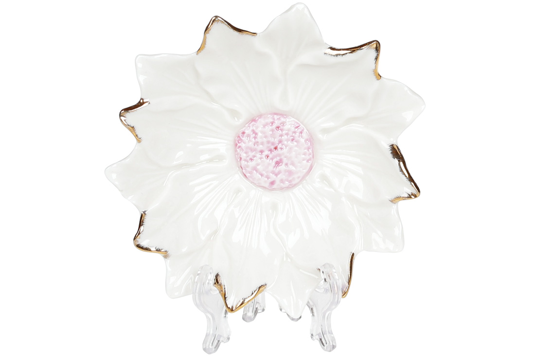 Декоративная подставка для украшений Цветок белый с розовой серединой 12см BonaDi 727 313