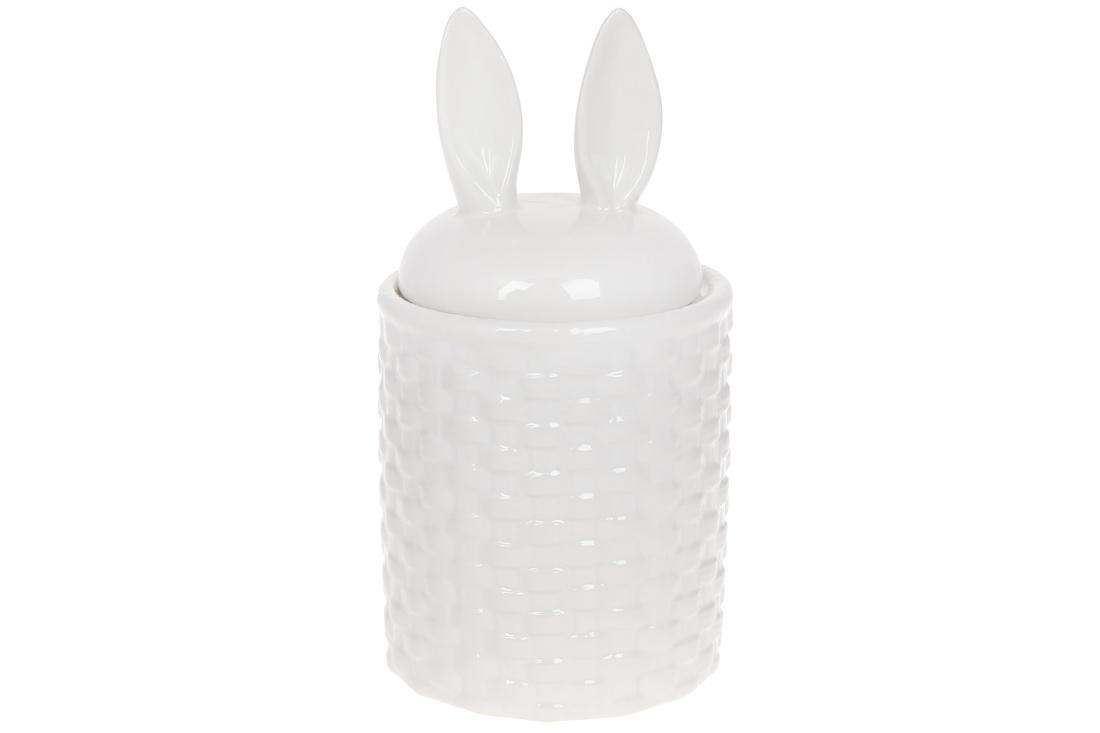 Банка для сыпучих продуктов Заячьи ушки 950мл цвет белый BonaDi 733 400