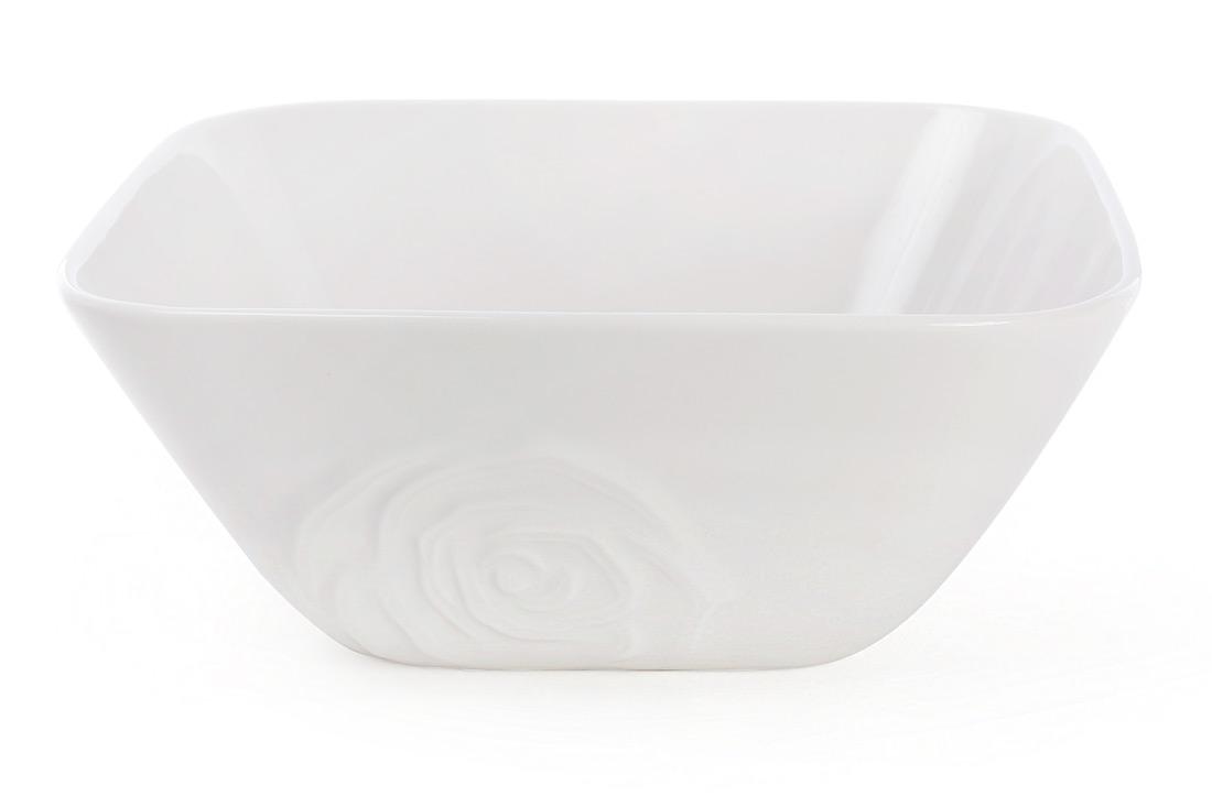 Салатник фарфоровый квадратный с объемным декором Роза 16л цвет - белый BonaDi 558-521