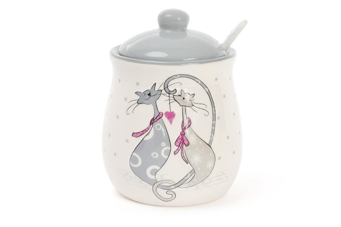 Сахарница керамическая 325мл с ложкой с объемным рисунком Влюбленные коты