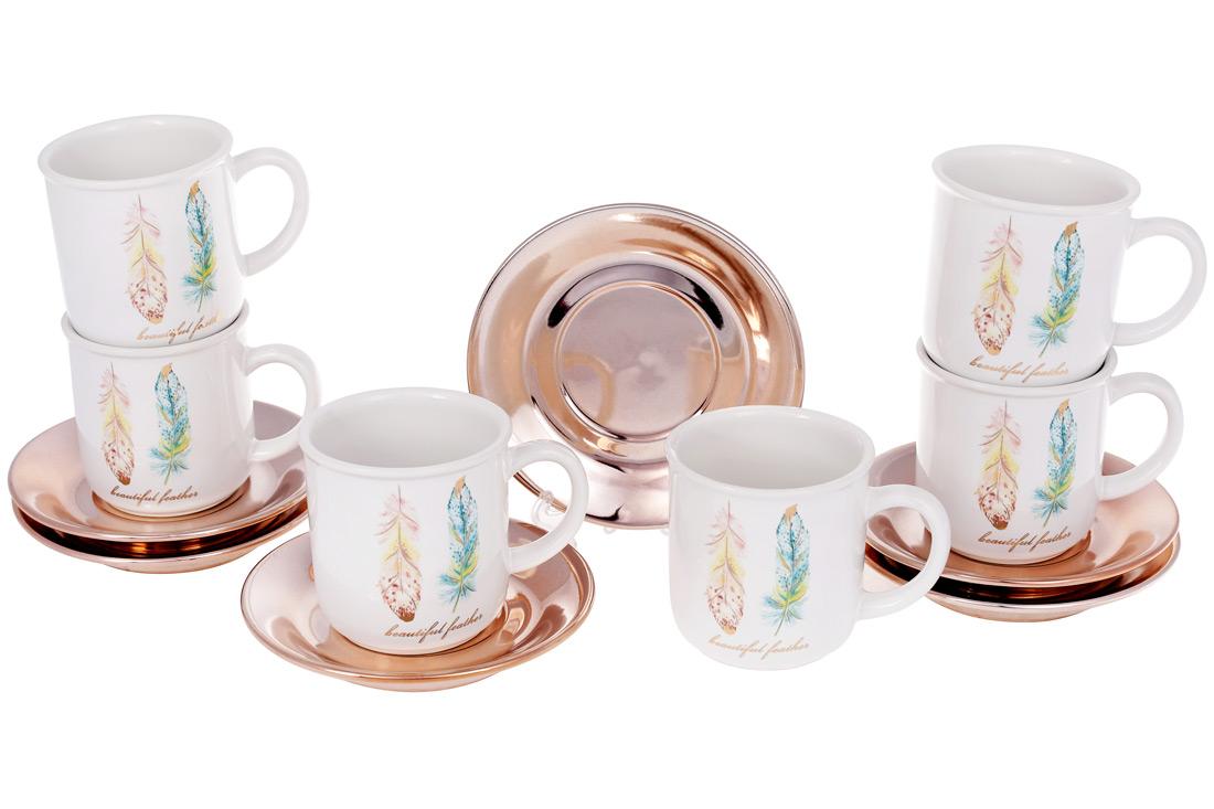Набор чашек керамических 250мл с блюдцем Плюмаж BonaDi 935-122