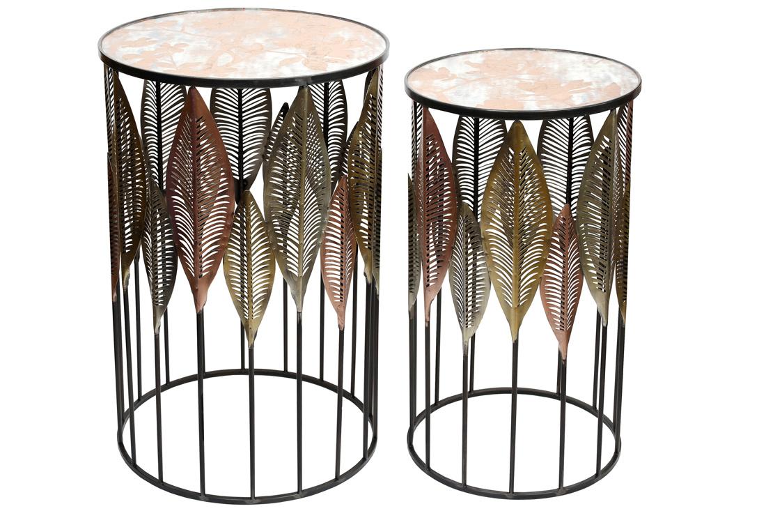 Набор (2 шт) металлических столиков со стеклянной поверхностью 67.5см и 72.5см BonaDi 589 192