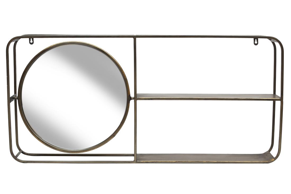 Полка металлическая настенная с зеркалом 92*43см BonaDi 589 218
