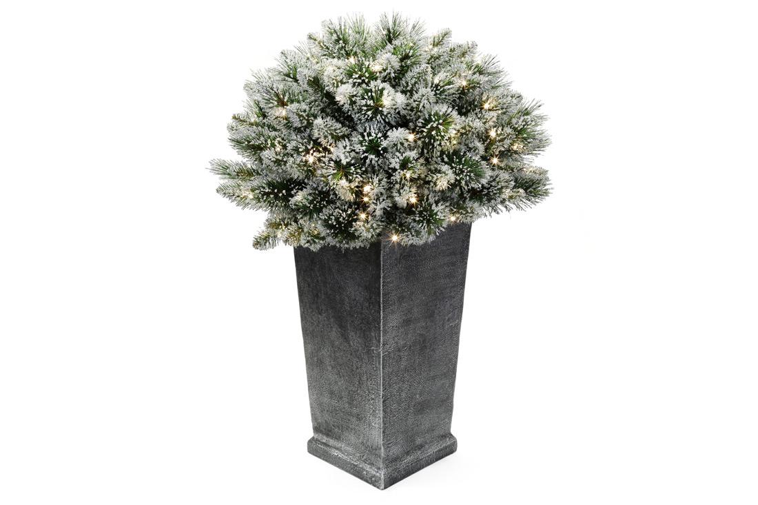 Декор из искуственной хвои в вазоне 90см 150 веток 100 LED свет тёплый белый BonaDi 840 117