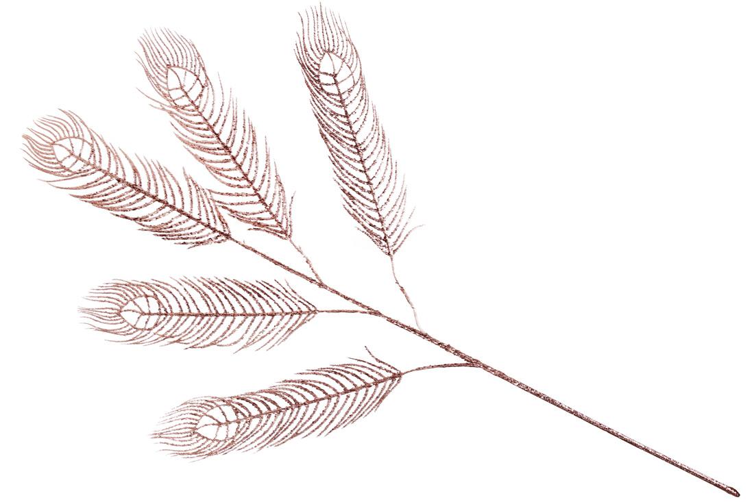 Декоративная ветка Павлиний Глаз с глитером 98см цвет - розовое золото BonaDi 128-118