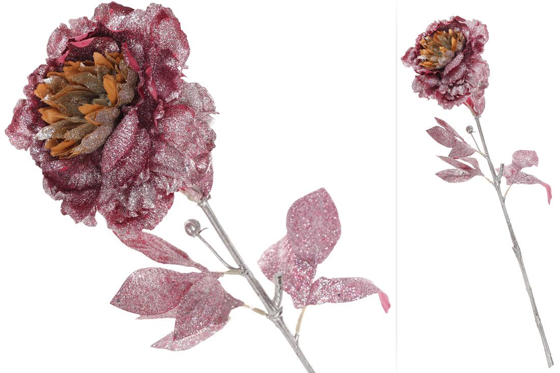 Декоративный цветок Пион бургунди с серебряным глитером 61см BonaDi 709-325