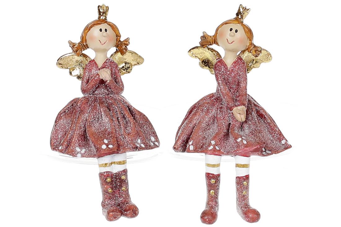 Фігурка декоративна Дівчинка ангел сидяча 10см 2 види колір бордо BonaDi 823 827