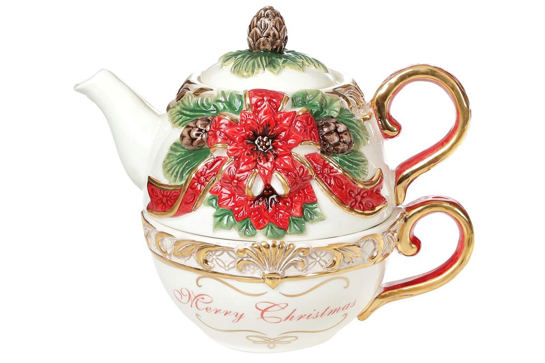 Набор керамический чашка 300мл с чайником 400мл с объемным Рождественским орнаментом BonaDi 997 011
