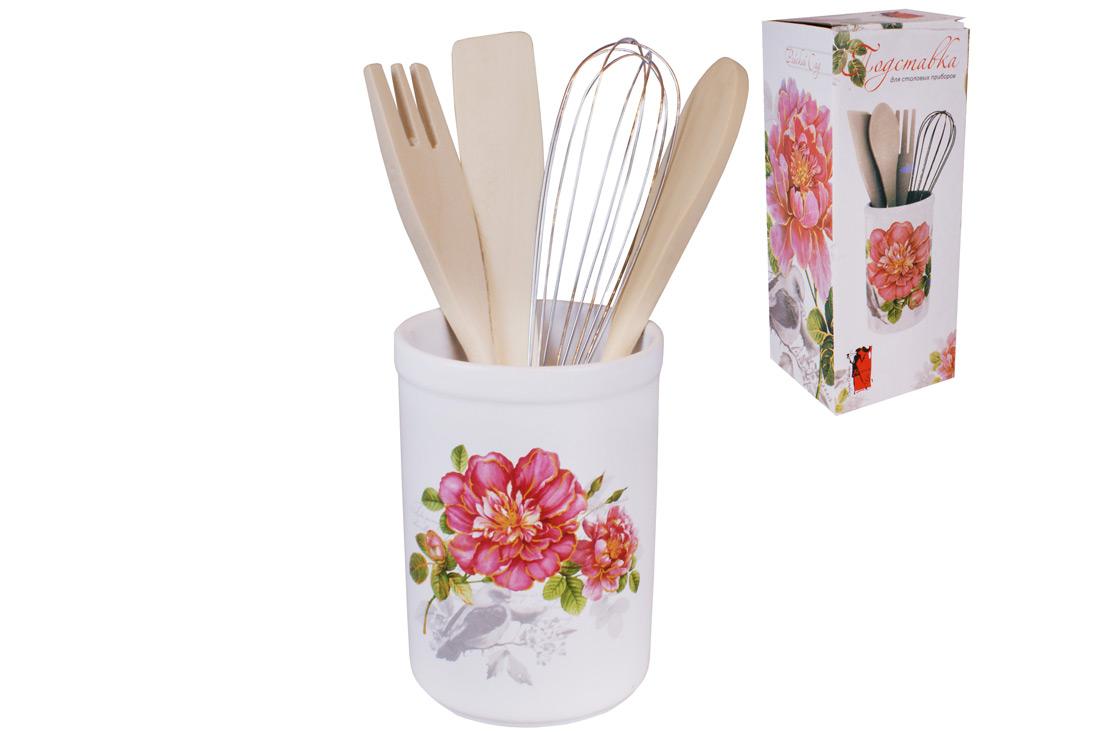 Подставка керамическая в наборе с кухонными принадлежностями 26см Райский сад BonaDi DM959 P
