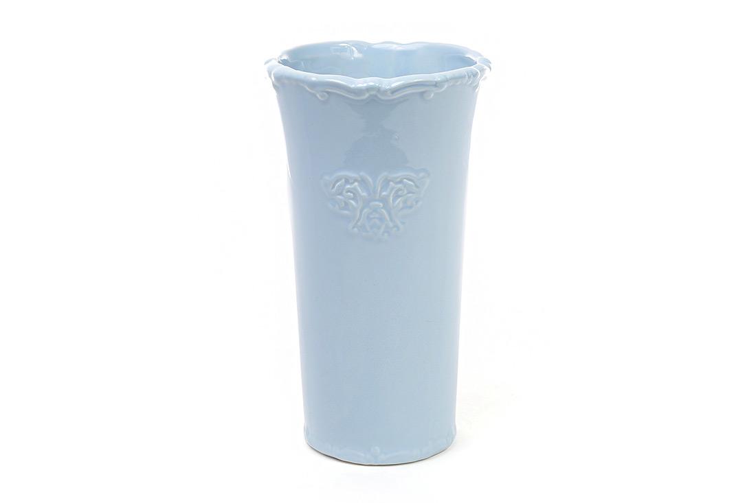 Керамическая ваза 22см Вензель цвет голубой BonaDi 720 039