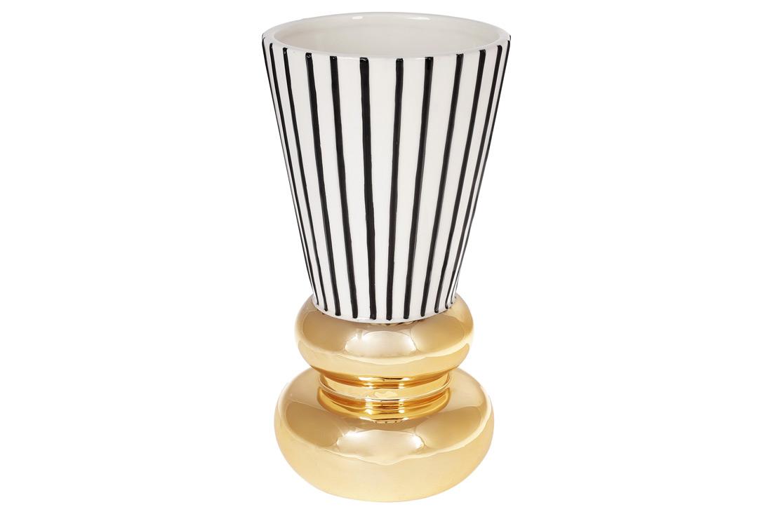 Ваза керамическая с графическим орнаментом и золотым покрытием 25см цвет белый с чёрным и золотом BonaDi 733 327